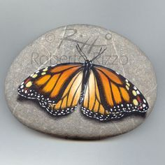 Butterfly hand painted rock | Fine Art by Roberto Rizzo www.robertorizzo.com