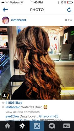 The perfect waterfall braid & curls -- oh, jealousy, don't consume me. My hair would NEVER do this! Tree Braids Hairstyles, Curly Hair Braids, Hairstyles With Bangs, Braided Hairstyles, Wedding Hairstyles, Curly Hair Styles, Layered Hairstyles, Summer Hairstyles, Bridesmaid Hair