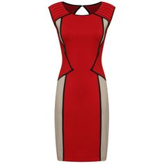 Red Panel Contrast Bodycon Dress with Cut Out Back, Dress, body con dress cap sleeves, Chic Stylish Dresses, Casual Dresses, Short Dresses, Fashion Dresses, Classy Dress, Classy Outfits, Iranian Women Fashion, Red Cocktail Dress, Panel Dress