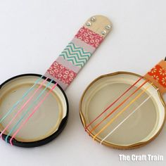 Mini lid banjos - repurpose old jar lids into a cute DIY toy. THese miniature banjos are a fun stem or steam craft idea for summer! Also a great musical instrument craft for kids Music Instruments Diy, Instrument Craft, Homemade Musical Instruments, Paper Plate Crafts For Kids, Crafts For Kids To Make, Craft Stick Crafts, Banjo, Music Crafts, Animal Crafts