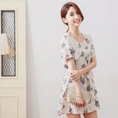 Buy Tokyo Fashion Floral Print Tie-Waist Short-Sleeve Dress at YesStyle.com! Quality products at remarkable prices. FREE WORLDWIDE SHIPPING on orders over US$ 35.