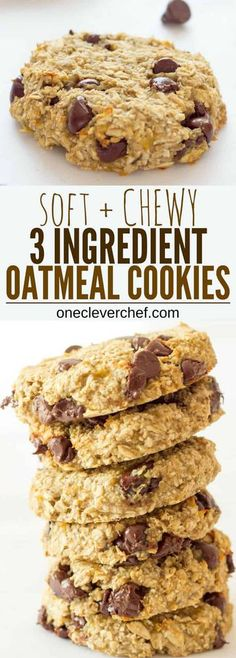 Ready under 20 minutes these healthy chewy and soft banana & oatmeal cookies are made with only 3 simple ingredients. They are a very simple and light version of the traditional oatmeal cookie with added dark chocolate chips. Oatmeal Cookie Recipes, Easy Cookie Recipes, Baking Recipes, Free Recipes, Baking Snacks, Heathy Oatmeal Cookies, Oatmeal Cookies No Sugar, Flourless Oatmeal Cookies, Banana Recipes No Baking Soda