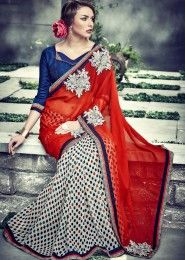 Party Wear Red Georgette Embroidered Work Saree