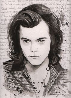 """Harry Styles Watercolour Portrait with """"Fireproof"""" Lyrics One Direction"""