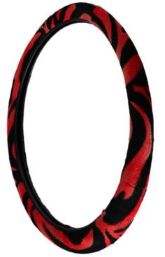 "Custom & Unique {Universal 14.5 to 15.5"" Inch Fit} Smooth Grip ""Fitted"" Steering Wheel & Seat Belt Set Protector Made of Faux Leather with Plush Zebra Design {Camry Red & Black Colored}"
