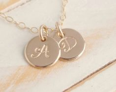 Gold Initial Disc Necklace, Tiny Plus Size, 14k Gold Filled, Handmade to order, Custom Initial and Font, 2 disc necklace 5/16ths of an inch