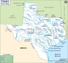Texas Lakes And Rivers Map Camp Prepare Pinterest Texas - Map of tex