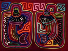 Kuna Indian Hand-Stitch Charlie Tuna Fish Mola Art-Panama 16030410L