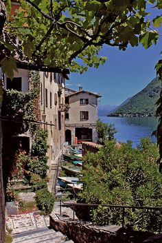 Gandria, Ticino, Switzerland - sitting at the base of Mt. Brè, is an ancient village comprising 1/4 of the city of Lugano. Human traces around the village, the center of which is historically protected and not reachable by car, date back to the iron age.