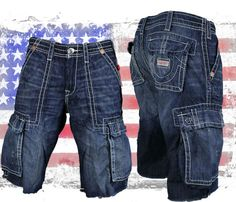 True Religion store | True Religion Jeans Men's Isaac Cargo Shorts Law Dog Blue MET841EH ...