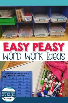 Word work in kindergarten, first grade, or even can be easy with these Daily 5 activities. Students use a variety of materials to work with words. Whether you are using this for centers, a hands on option for stations, or just some easy games to play w Word Work Stations, Word Work Centers, Reading Stations, Literacy Stations, Daily 5 Centers, Reading Centers, Reading Center Ideas, Daily 5 Stations, Writing Centers