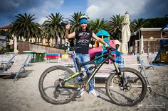 Yet another Ibis, this one the Mojo HDR of Valentina Macheda. The black and yellow bike employs X-Fusion suspension front and back, and a SR...