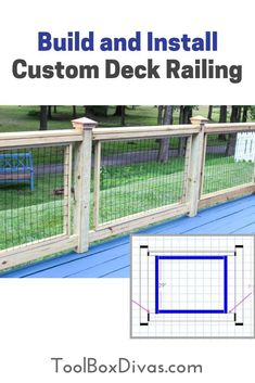 learn how to build and install affordable custom deck railing similar to hog wire deck rails using fencing wire @toolboxdivas @homedepot #DIY #THDProspective #deckmakover deck installation