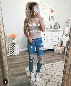 for more stunning styles💖 casual sporty outfits, cute addidas outfits, outfits Mode Outfits, School Outfits, Outfits For Teens, Chic Outfits, Sport Outfits, Spring Outfits, Fashion Outfits, Fashionable Outfits, Womens Fashion