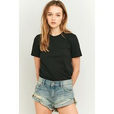 BDG Boyfriend Low-Rise Distressed Shorts ($57) ❤ liked on Polyvore featuring shorts, light blue, bdg shorts, light blue shorts, mini shorts, loose fitting shorts and hot pants