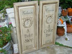Don't throw away those cabinet doors! Make signs or wall decor