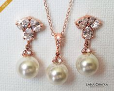 Rose Gold Pearl Jewelry Set, Swarovski White Pearl Drop Earrings&Necklace Set, Rose Gold Wedding Jewelry Set, Pink Gold Pearl Bridal Jewelry Rose Gold Wedding Jewelry, Wedding Gold, Rose Gold Jewelry, Bridal Jewelry Sets, Pearl Jewelry, Rose Gold Pearl, Pearl Bridal, Pearl Drop Earrings, Bridesmaid Jewelry
