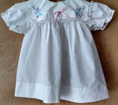 Vtg Mayfair Baby Dress 24M White Square Collar Floral Embroidery Ribbon Lace #Mayfair #DressyEverydayHolidayWedding