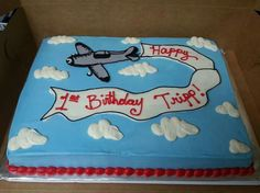 Airplane themed sheet  cake