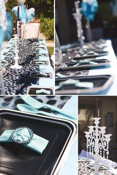 For this Breakfast at Tiffany's Themed Birthday Party, @Jennifer Sbranti added glam touches with our Candelabras, Sparkle Rings, Sparkle Tea Light Holders.
