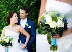10 hochzeitsstraeusse tuerkis band weisse rose elegant Hochzeit in Türkis – die Farbe des blauen Himmels