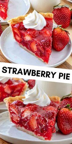 Strawberry Desserts, Easy Desserts, Delicious Desserts, Yummy Food, Strawberry Pie With Jello, Desserts With Strawberries, Frozen Strawberry Recipes, Easy Delicious Recipes, Baking Recipes