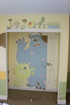 What kid wouldn't want to see Mike and Sully every time they opened their closet door?