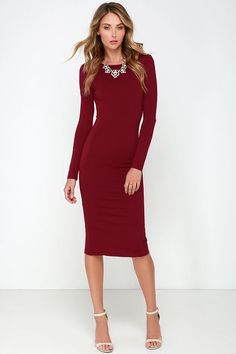 Va Va Voom Wine Red Backless Midi Dress at Lulus.com!
