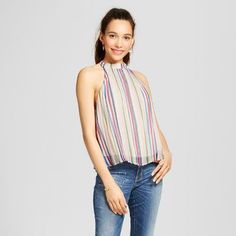 Women's Stripe High Neck Pleated Top - 3Hearts (Juniors')