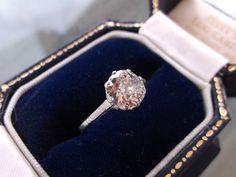 Impressively delicate, 1920's old mine cut solitaire 1.32 carat diamond!