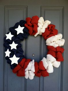 Patriotic American Flag Wreath by WoulfsCreations on Etsy, #home interior design 2012 #living room design #living room design