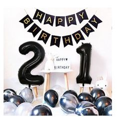 Items similar to Birthday Party Decorations Happy Birthday Banner Black Number 21 balloons Balloons Birthday Party Supplies Photo Props on Etsy Happy 21st Birthday, Happy Birthday Banners, Birthday Wishes, Birthday Month, Birthday Quotes, Birthday Greetings, 21 Balloons, Birthday Balloons, 21st Birthday Decorations