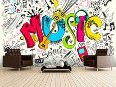 Music Doodle wall mural room setting Stunning Music Doodle wall mural from Wallsauce. This high quality Music Doodle wallpaper is custom made to your dimensions. Graffiti Art, Music Graffiti, Wall Design, Design Art, Musik Wallpaper, Doodle Wall, Doodle Doodle, Music Bedroom, Music Rooms