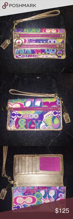 """Coach Poppy OP Art Wristlet Wallet RARE! This Coach Poppy op art Wallet Wristlet is rare and hard to find, from the 90's collection. Removable leather wrist loop, 3 outside zippers, 5 credit card slots, drivers license window, 3 interior compartments. Measures 7"""" X 4"""". Shows minor wear on corners and some places on leather (see photo) but overall in excellent condition given it's age! Coach Bags Wallets"""