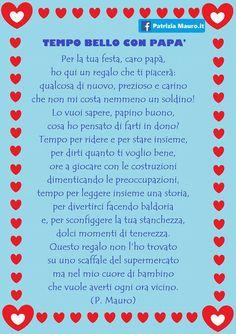 Per festeggiare il 19 marzo la maestraPatrizia Mauroha scritto una bellissima poesia ed ha pensato ad un lavoro ad essa correlato. Fathers Day Crafts, Happy Fathers Day, Diy For Kids, Crafts For Kids, Daddy Day, Home Schooling, Little Babies, Mom And Dad, Activities For Kids