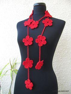 Ravelry: Floral Scarf Lariat Simple Tutorial Pattern pattern by Lyubava Crochet
