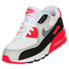Boys' Toddler Nike Air Max 90 Running Shoes | FinishLine.com | White/Cool Grey/Neutral Grey/Infrared