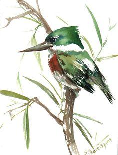 Green Kingfisher, Original watercolor painting, 12 X 9 in, green bird, kingfisher lover painting