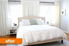 Before & After: Disguising Offset Windows Behind a Bed Very clever solution!