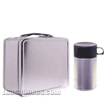 Plain Metal Lunch Box & Thermos.  The girls can decorate their own...