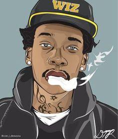 Wiz Khalifa Vector by DeZynes on DeviantArt Dope Cartoons, Dope Cartoon Art, Black Cartoon, Cartoon Drawings, Arte Do Hip Hop, Hip Hop Art, Arte Dope, Dope Art, Wiz Khalifa Smoking