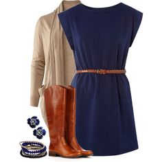 A fashion look from March 2014 featuring glamorous dresses, brown tops and low heel boots. Browse and shop related looks.