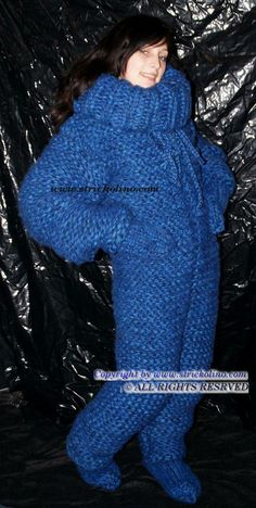 knitted smurf suit