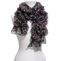 Lulu Floral Ruched Scarf ($18) ❤ Oh how I love scarves~