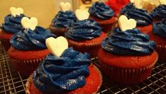 Red velvet cupcakes with intense blue icing