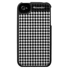 Black/White Houndstooth Stylish Fashion Designer iPhone 4 Cases