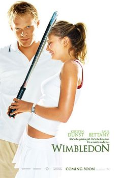 Kirsten Dunst as Lizzie Bradbury; Paul Bettany as Peter Colt; Kyle Hyde as Monte Carlo Opponent; by Kirsten Dunst as Lizzie Bradbury; Paul Bettany as Peter Colt; Kyle Hyde as Monte Carlo Opponent; Paul Bettany, Best Romantic Comedies, Romantic Movies, Kirsten Dunst, James Mcavoy, Wimbledon Movie, 2014 Wimbledon, See Movie, Movie Posters