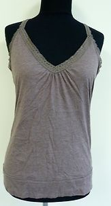 Cute nice brown lace tank top cami shirt blouse built in bra sz M