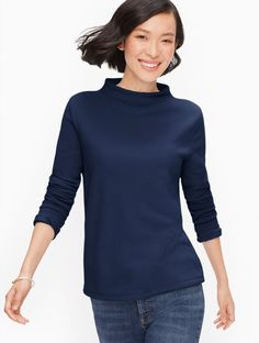 Classic Style Women, Modern Classic, Gamine Style, Plus Size Tees, Funnel Neck, Talbots, Long Sleeve Shirts, Curvy, Gamine Fashion