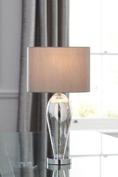 Buy Ombre Touch Table Lamp from the Next UK online shop Silver Table Lamps, Touch Table Lamps, Touch Lamp, Bedside Table Lamps, Silver Living Room, Silver Fabric, Fabric Shades, Outdoor Lighting